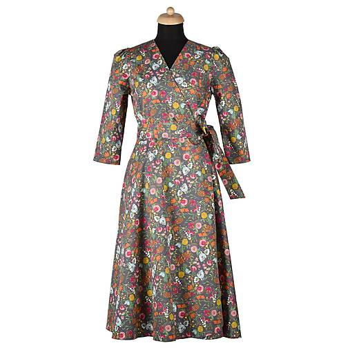 """Šaty - GRÉTA - zavinovacie šaty """"hnedé kvietky"""" - 13220678_"""