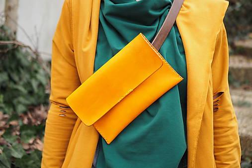 Kabelky - Ledvinka MontMat s páskem žlutá - 13220271_