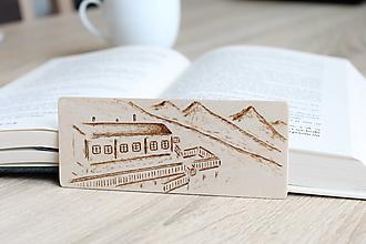 """Papiernictvo - Malá drevená záložka """"Chata pod Soliskom"""" - 13221188_"""