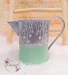 Nádoby - Kovový džbán mentolovo-sivý 18cm - 13222017_