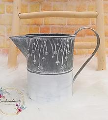 Nádoby - Kovový džbán bielo-sivý 18cm - 13222055_