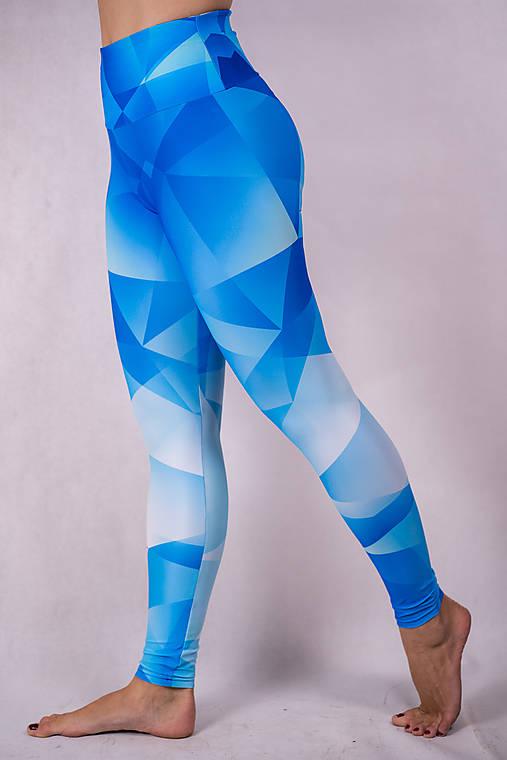 Nohavice - Funkčné legíny - blue triangles - 13220123_