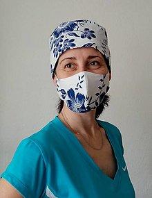 Čiapky - Dizajnová operačná - chirurgická čiapka  modré maľované kvety na bielej - 13220930_
