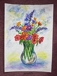 Obrazy - Kytička akvarelový obraz - 13220988_
