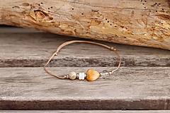 Náramky - Náramok na šnúrke achát, krištáľ, perleť - 13220594_