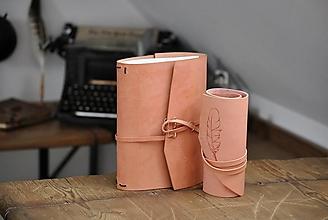Papiernictvo - kožený midori zápisník APRICOT + darček - 13223893_