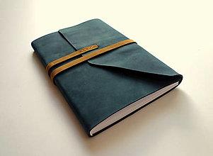 Papiernictvo - Kožený zápisník ručne šitý A5 nubuk nočná modrá - 13225158_