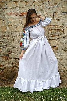 Šaty - Dlhé biele šaty s volánom a balónovými rukávmi - 13225964_