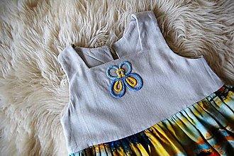 Detské oblečenie - Celoročné ľanové šaty pre dievčatá (Motýľ) - 13226094_