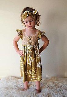 Detské oblečenie - Dievčenské šaty s háčkovaným živôtikom (Žlté palmy) - 13226319_