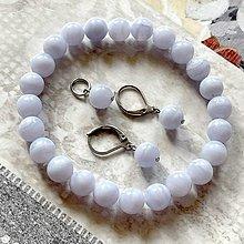 Sady šperkov - Lace Chalcedony Set / Elastický náramok, náušnice a prívesok chalcedón čipkovaný, oceľ - 13227697_