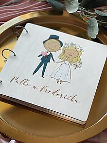 Papiernictvo - Svadobná kniha hostí, drevený fotoalbum - párik maľovaný - 13227122_