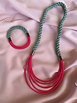 Sady šperkov - Lanový set - růžova & šedozelená - 13229438_