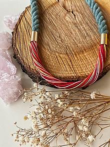 Náhrdelníky - Šedozelená, červená a růžová - 13229400_