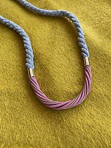 Náhrdelníky - Lanový náhrdelník - šedá & pudrová - 13229441_