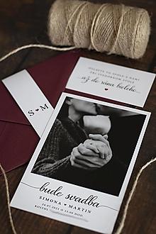 """Papiernictvo - Svadobné oznámenie s fotografiou """"POLAROID """" bordová  ❤ - 13227180_"""