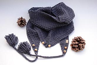 Šatky - Dámska šatka ZARA, s korálkami a brmbolcami, 100% merino - 13228147_