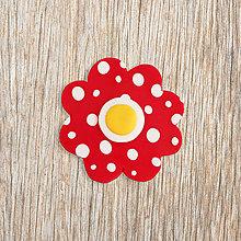 Magnetky - Hravý kvet magnet - puntíkový muchotrávkový - 13229326_