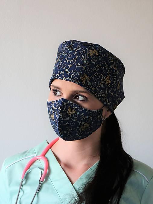 Dizajnová operačná / chirurgická čiapka zlaté motýle
