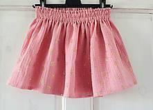 """Detské oblečenie - Detská sukňa """"RUŽOVÝ VÁNOK"""" - so zlatou potlačou púpav - 13230825_"""