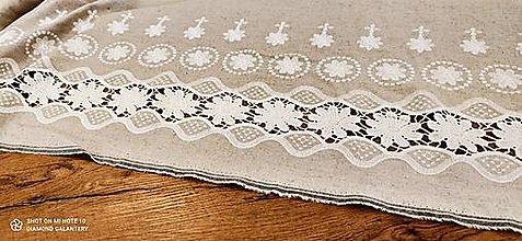Textil - Vyšívaná látka - ľan viskóza  (Béžová) - 13230884_