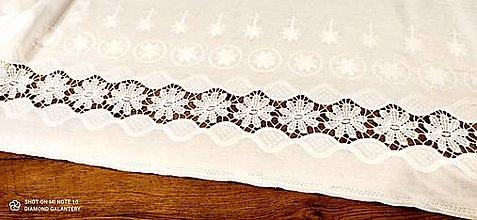 Textil - Vyšívaná látka - ľan viskóza  (Krémová) - 13230885_