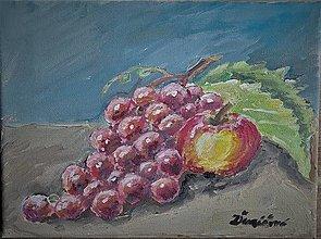 Obrazy - Zátišie hrozno a jablko - 13230584_