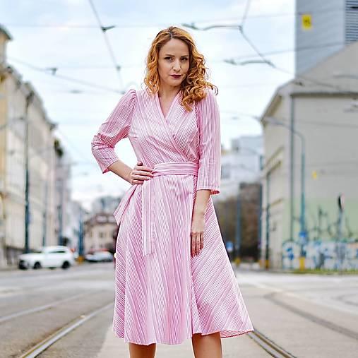 """Šaty - GRÉTA - zavinovacie šaty """"ružové pásiky"""" - 13230191_"""