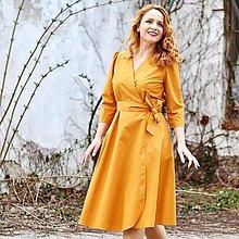 Šaty - GRÉTA - zavinovacie šaty z prémiovej bavlny (Zlatožlté) - 13230217_