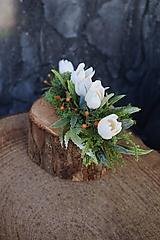 Dekorácie - Malý aranžmán na drevenom polienku - 13231465_