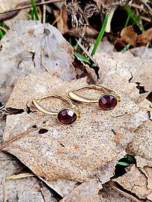Náušnice - Náušnice Granát z pozláteného striebra - 13230208_