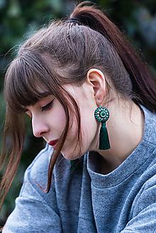 Náušnice - Strapcové zelené - 13231201_