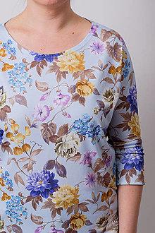 Tričká - TRIČKO BASIC FLOWER - BLEDOMODRÁ - 13232084_