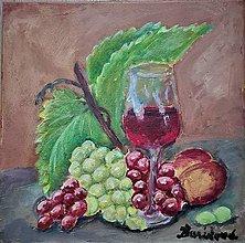 Obrazy - Zátišie s pohárom vína - 13232751_
