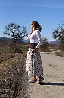 Sukne - Trojštvrťová sukňa s hnedými kvetmi - 13234178_