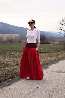 """Sukne - Maxi """"červená"""" ľanová skladaná - 13234456_"""