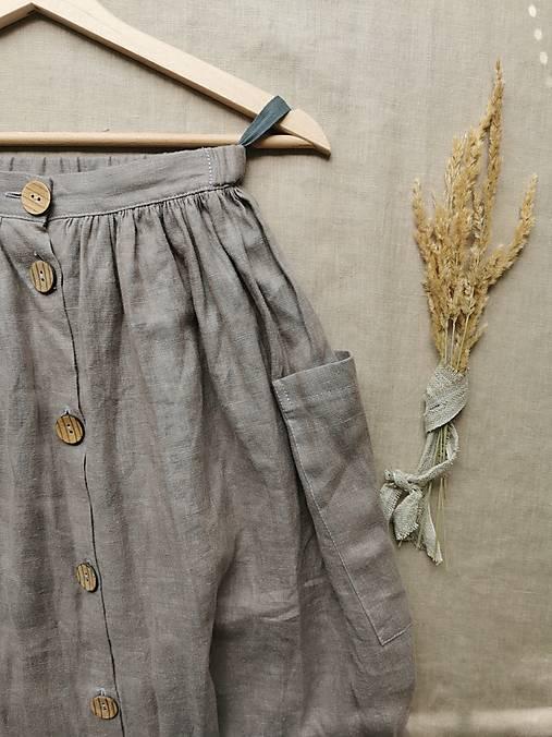 Sukne - Ľanová sukňa s veľkými vreckami (prašná fialová) - 13232816_