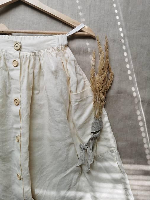 Sukne - Ľanová sukňa s veľkými vreckami (vanilková) - 13232820_