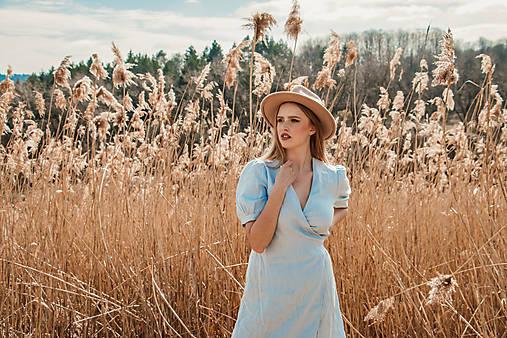 Šaty - Zavinovacie ľanové šaty - Húska (nezábudková) - 13233635_