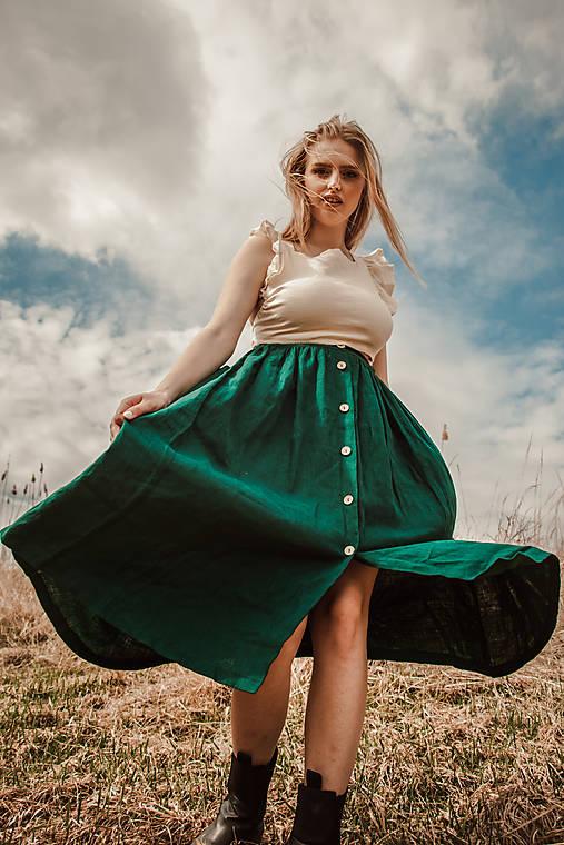 Sukne - Ľanová sukňa s veľkými vreckami (lesná zelená) - 13234427_