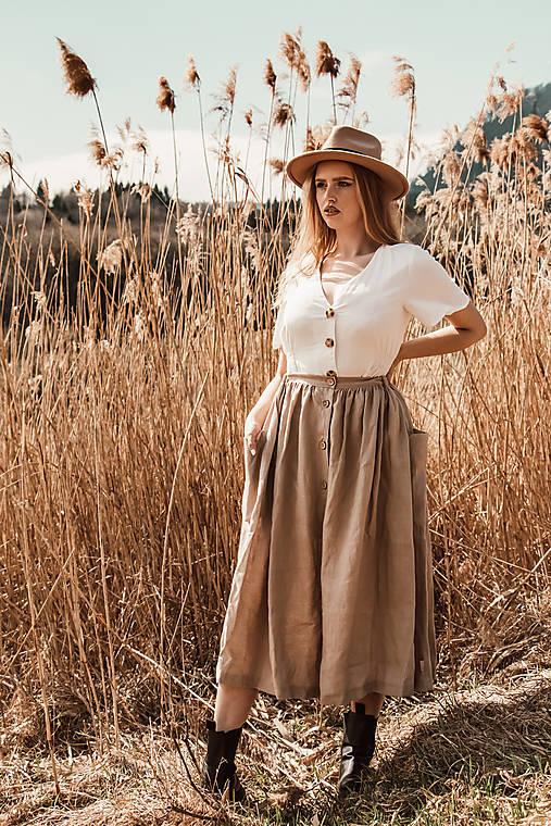 Sukne - Ľanová sukňa s veľkými vreckami (piesková - prírodná) - 13234470_