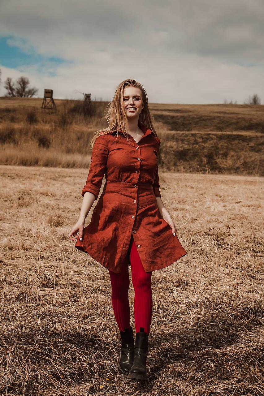 Ľanové šaty košeľové - Labuť