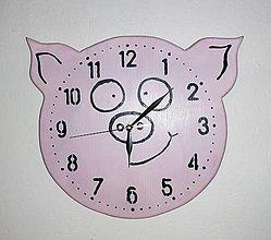 Hodiny - Nástenné hodinky - prasiatko - 13237651_