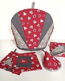 Úžitkový textil - Sada čiapka na čajník, podšálky, ušká, chňapky - 13236705_