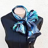 Šály - Vlny-hodvábny maľovaný šál v chladivých odtieňoch - 13236567_