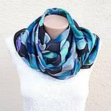 Šály - Vlny-hodvábny maľovaný šál v chladivých odtieňoch - 13236570_