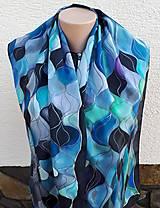 Šály - Vlny-hodvábny maľovaný šál v chladivých odtieňoch - 13236574_