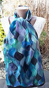 Šály - Vlny-hodvábny maľovaný šál v chladivých odtieňoch - 13236582_