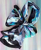 Šály - Vlny-hodvábny maľovaný šál v chladivých odtieňoch - 13236585_