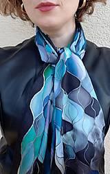 Šály - Vlny-hodvábny maľovaný šál v chladivých odtieňoch - 13236593_